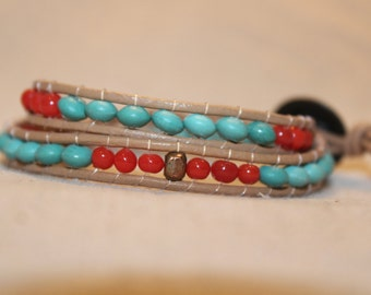 Turquoise and Red Wrap Bracelet