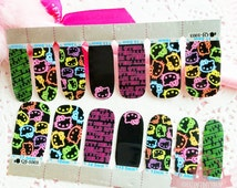 Hello Kitty neon bslack full nail wraps stickers No drying time adhesive wraps  ~QJ-1003