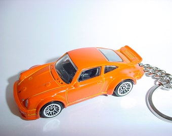 3D Porsche 934 Turbo RSR custom keychain by Brian Thornton keyring key chain finished in orange color trim