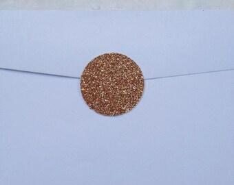 "Shimmery Rose Gold Glitter Glamor Circle Seals - 1"" x 25"