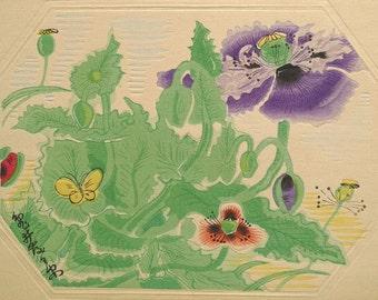 "Ukiyoe, Original Sōsaku-hanga, Woodblock print, antique, Tobei Kamei, ""Poppy"""