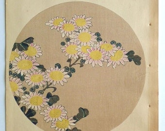 "Japanese antique woodblock print, Ito Jakuchu, ""Winter chrysanthemum, from Jakuchu gafu"""