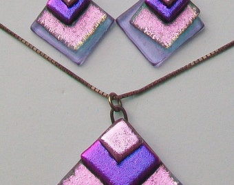 Purple & Lilac Sparkle Glass Pendant on 925 Silver Chain Necklace and Earrings Set