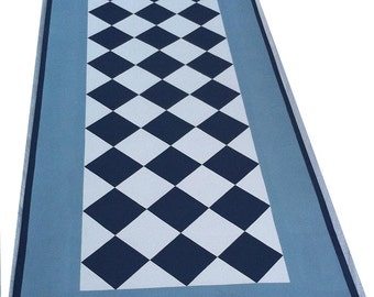 Blue Checks Floorcloth