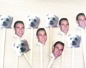 Set of 24 Custom Photo Swizzle Sticks/ Drink Stirrers for Bachelorette, Wedding, or Birthday Party