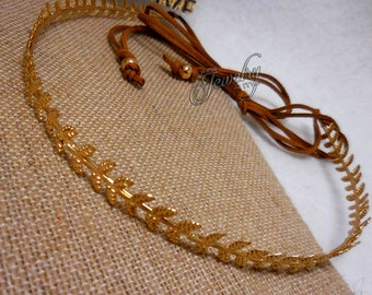 Thin Gold Laurel Leaf Headband