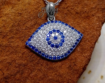 925 Silver & Blue Protective Eye CZ Pendant Necklace