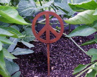 Peace Sign Metal Garden Stake