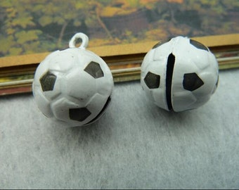 5pcs football small real bell charms,jewelry making supplies,17*17*21mm