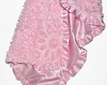 Baby girl blanket, satin baby blanket with ruffle and cotton rosette, satin baby blanket, pink baby bedding