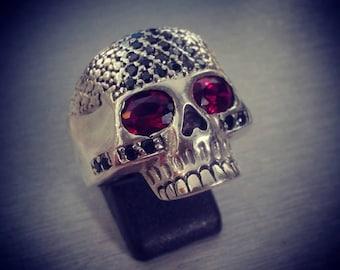 Skull ring with special stones zirgonia Biker sterling silver handmade s