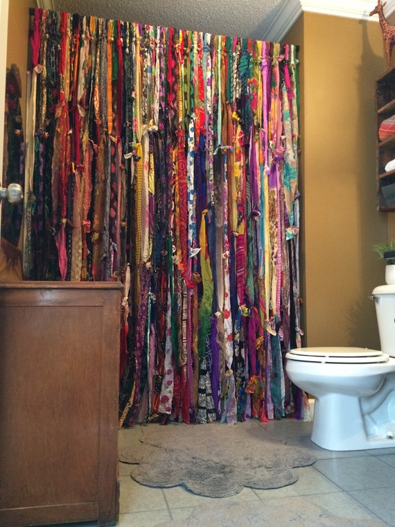 Handmade Bohemian Bathroom Shower Curtain