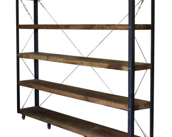 KONK! HUGE 30cm deep Oak Bookcase, Shelving INDUSTRIAL [Bespoke sizes!]