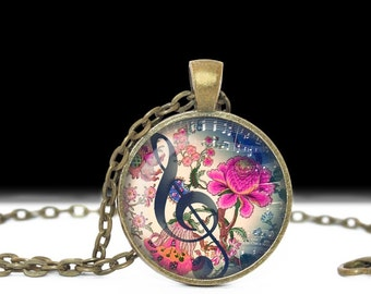 Music Jewelry Pendant Wearable Art Music Necklace Music Pendant Charm Music Keychain