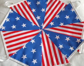 30ft / 9m Stars and Stripes Bunting Pennant Garland: Memorial Day, July 4th, Independence Day, Labour Day, Thanksgiving, American Themed
