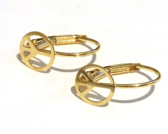 14K Solid Yellow Gold Leverback Earrings with a peace sign ornament