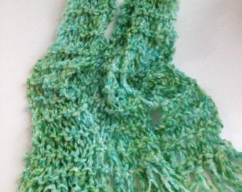 Green and Aqua Silky Scarf