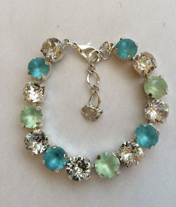 swarovski bright turquoise mint tennis bracelet 8mm bracelet. Black Bedroom Furniture Sets. Home Design Ideas
