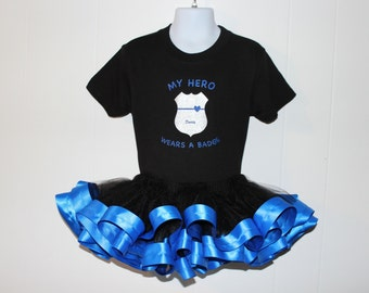 Thin Blue Line Tutu Outfit Police officer kids tutu outfit shirt headband silver badge law enforcement kids