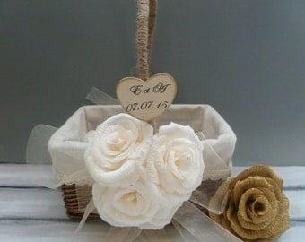 Flower Girl Basket, Rustic Paper Roses Basket, Wedding Personalized Basket