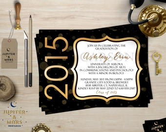 2015 Black and Gold Graduation Party Invitation, Announcement (Polka Dots, Gold Glitter, Foil) DIGITAL FILE