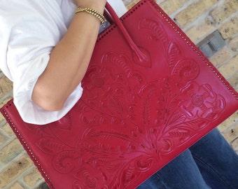 Hidalgo - Handmade tooled leather handbag - Red