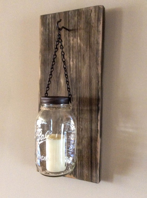 Diy Rustic Wall Sconces : Items similar to Rustic Mason Jar Wood Wall Sconce Distressed Weathered Brown/Reclaimed Wood ...