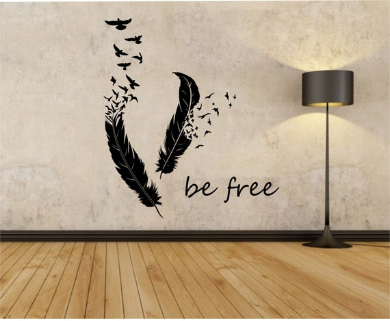 feathers turning into birds vinyl wall decal sticker art decor. Black Bedroom Furniture Sets. Home Design Ideas