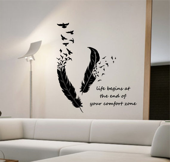 Wall Decor Tapetai : Feathers turning into birds vinyl wall decal sticker art decor