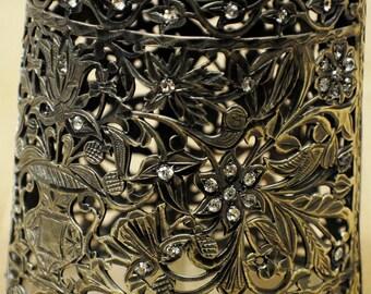 Sterling silver bracelet with rhinestones, 91 gram