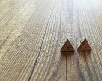 Geometric Triangle Earrings. Geo Tri Studs. Bamboo Triangle Earrings. Geometric Rocks. Minimal Earrings. Raw Bamboo Earrings. Handmade Studs