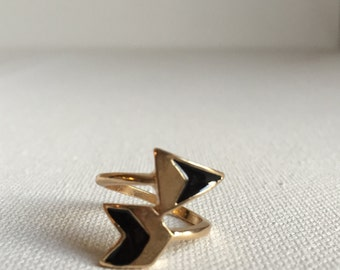 Gold and black chevron ring