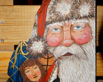 Hand painted Santa Slate with Toys in Sack