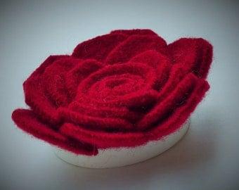 Classic Red Rose felt wool brooch pin