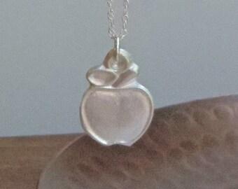 Silver Apple Necklace/Pendant, fine silver, teacher gift, apple necklace, apple for teacher, end of term