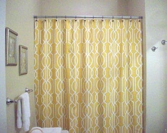 "Geometrical Shower Curtain / Extra Long, Reg. length also! / 72"", 84"", 90"" / Yellow-Gold Lattice fabric"