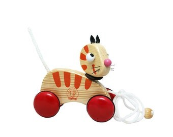 Wooden Pull Along Toy - Cat