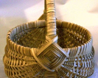 Vintage Southern Appalachian Wood Splint Buttock Basket Handmade Signed Melon Gathering Egg Field Basket