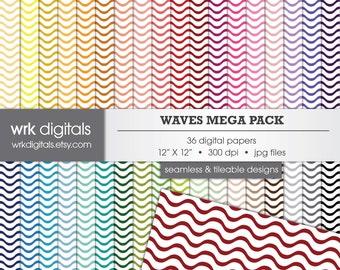 Waves Mega Pack Seamless Digital Paper Pack, Digital Scrapbooking, Instant Download