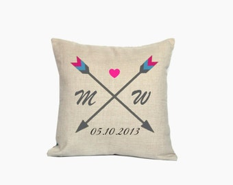 Anniversary throw pillow covers 18x18 Arrows decorative pillow cases Personalized cushion covers 22x22 Initials cushion cases Wedding gifts