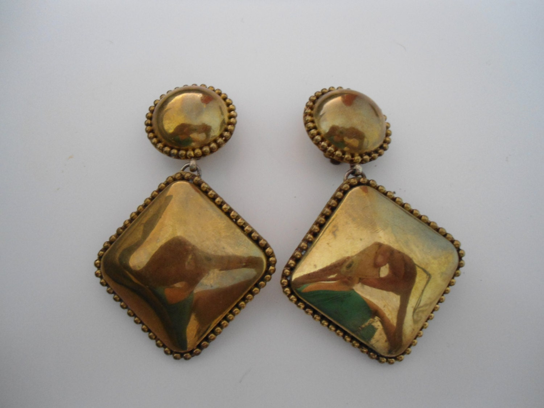 statement vintage earrings 80s earrings clip on earrings