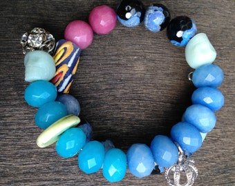 Turquoise, Sterling Bling and crown beaded bracelet
