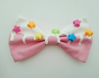 Fairy Kei Icing Hair Bow with Rainbow Stars