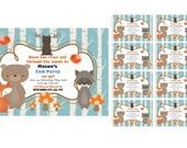 """CUSTOM WOODLANDS Critters OR Forest Birthday Invitations And Thank You Cards-4"""" X 6"""" image or 5"""" X 7"""" image- Digital Download- Print at Home"""
