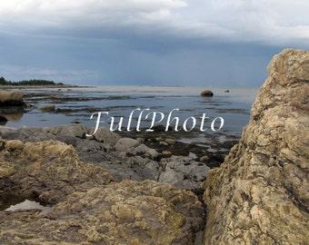 Ocean Rocks Photography - Rocks Photo - Parc National du Bic - Québec -Canada - Nautical Decor - Bleu Sea - Scenic Ocean Rocks