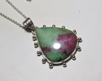 Ruby Zoisite pendant - Natural  Color Pendant Pear shape Pendant