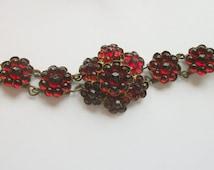 Antique Bohemian Gilt Linked Bracelet, Ruby Toned Vauxhall Crystals, Original Box, Layered Flowers, Gift, High End, Art Nouveau