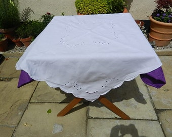 Small white Linen Table Cloth with Cutwork