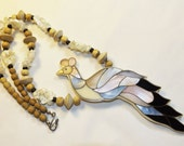 Lee Sands MOP Shell Inlaid Peacock Bird Necklace Inlay
