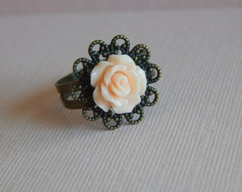 Blush Pink Rose Ring, Adjustable Ring, Antique Bronze Finish